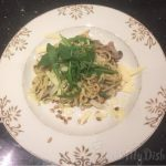 Pasta met truffelpesto en spekjes