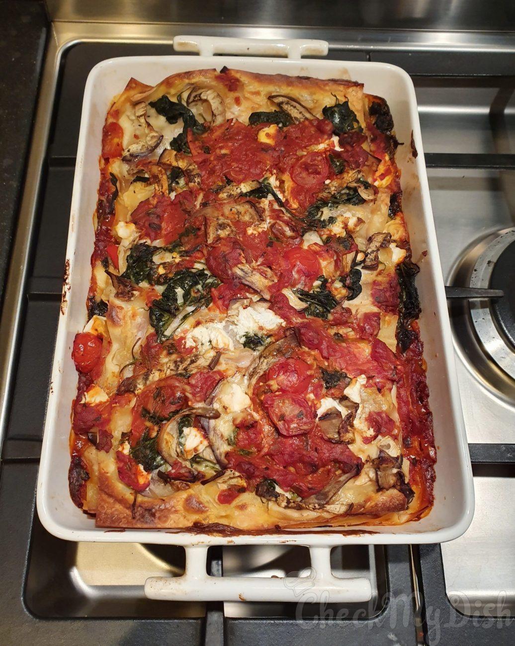 Vegetarische lasagne met geitenkaas