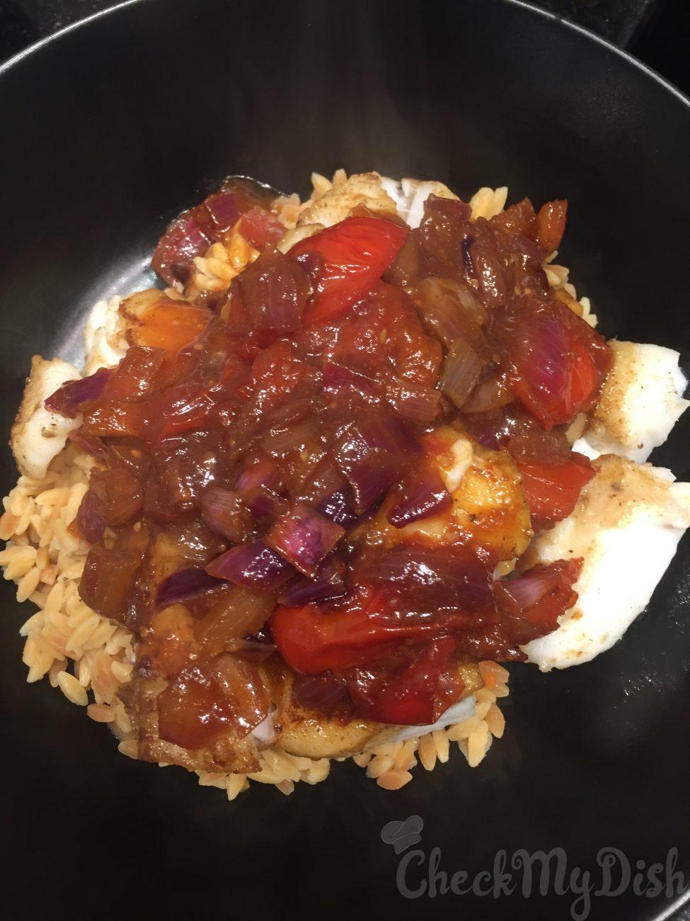 """""""Indische"""" Kabeljauw met rijst"""